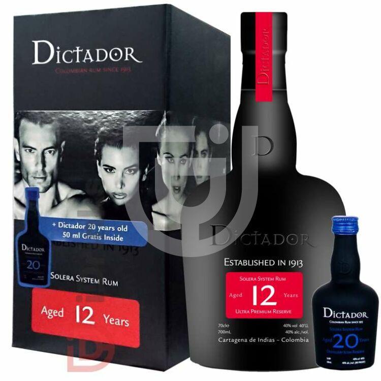 Dictador 12 Years Rum (+Grátisz 20 Years Rum Mini) [0,7L+0,05L|40%]