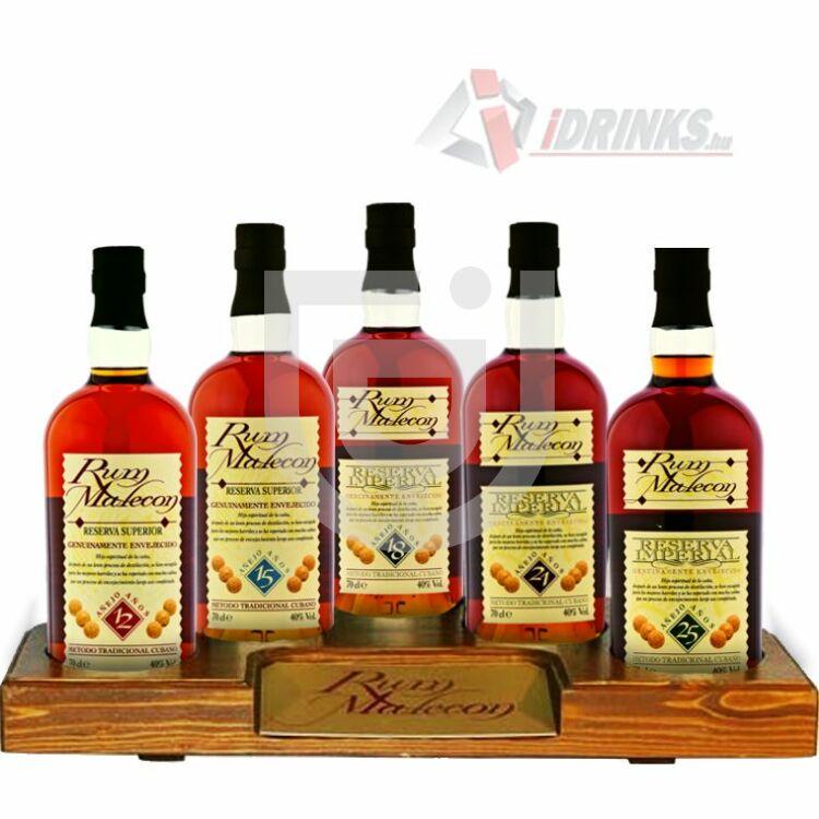 Malecon Rum Kollekció (Fa tartóval) [5*0,7L|40%]